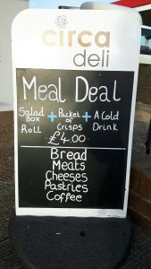 Circa Deli A-Board outside cafe- Where to eat in woodingdean