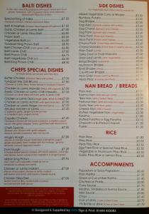 King of India Woodingdean- menu - takeaways in woodingdean
